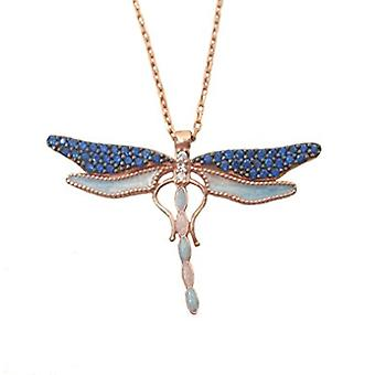 Dragon Fly necklace, enamel rose gold plated silver