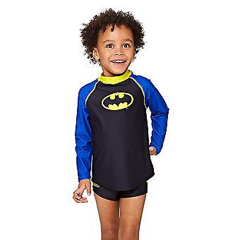 Zoggs 子供バットマン長袖太陽トップ、ブラック/ブルー