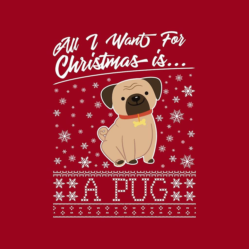 All I Want For Christmas Is A Pug Knit Pattern Men's Hooded Sweatshirt