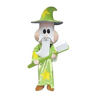 mascot SPOTSOUND sorcerer, magician, with a giant toothbrush