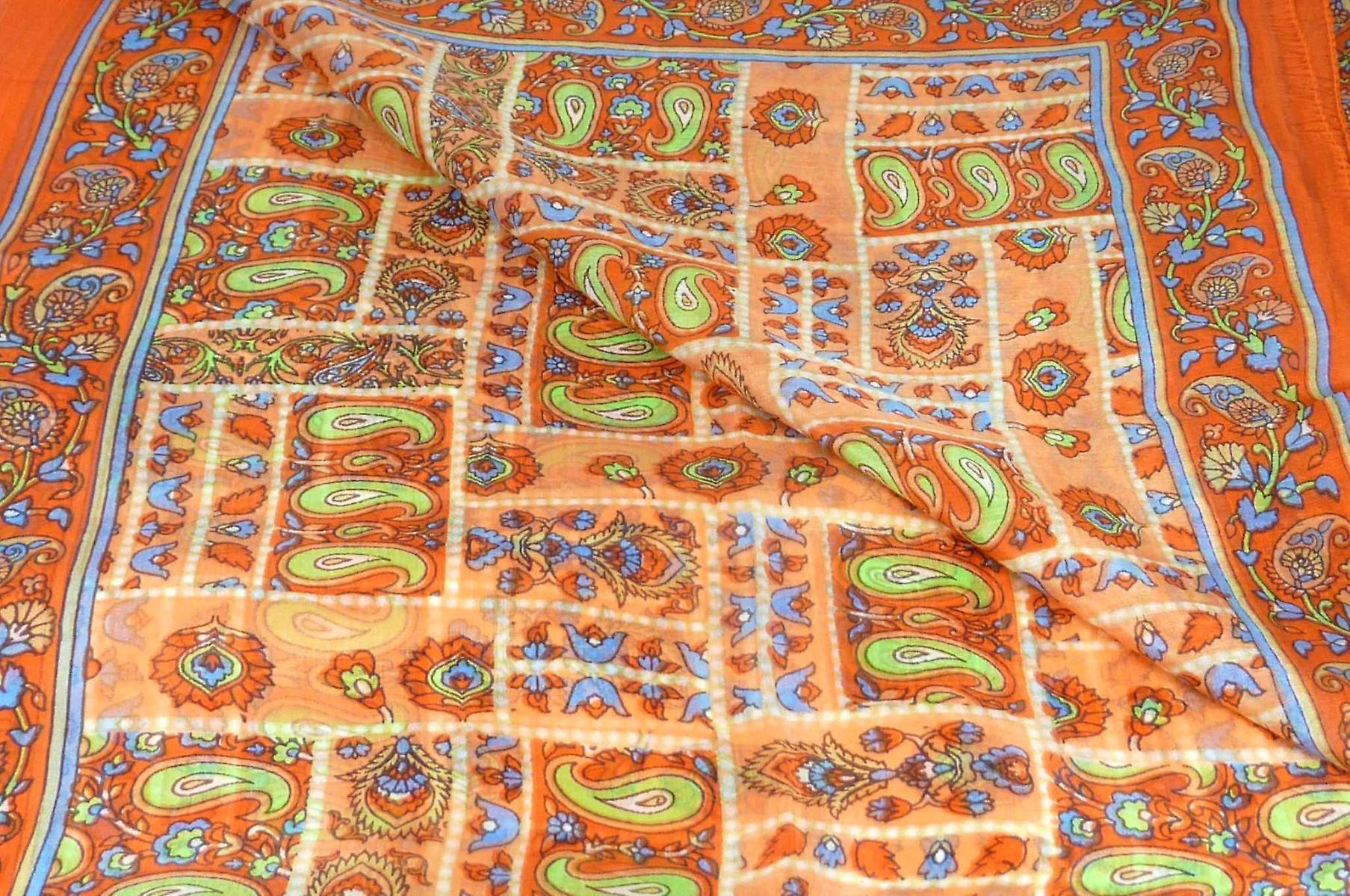 Mulberry Silk Traditional Long Scarf Khosta Terracotta by Pashmina & Silk