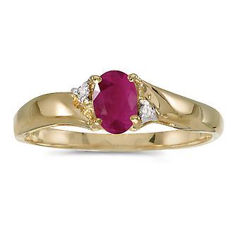 LXR 10k Giallo Oro Ovale Rubino e Diamond Ring 0.36 ct