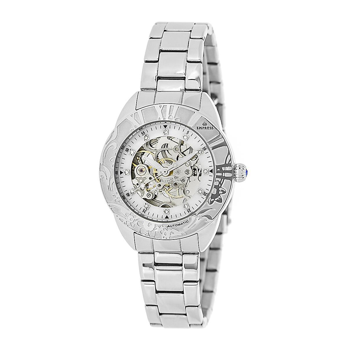Empress Godiva Automatic MOP Bracelet Watch - Silver/White