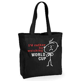Mens I'd Rather Be Watching The World Cup Black Cotton Shopping Bag