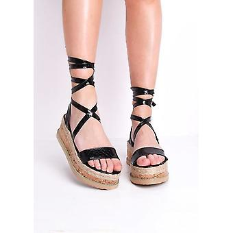 Croc Print Lace Up gevlochten Cork wig platte Espadrille sandalen zwart