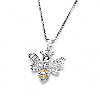 Cavendish French Silver and CZ Yellow Honey Bee Pendant with Silver Chain