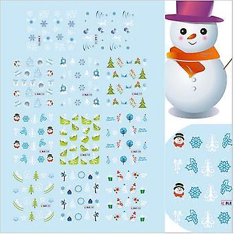 11 STKS vellen kerstversiering sneeuwvlokken nagel decoraties