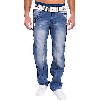 Menn Vintage 5-lomme jeans bukser Dover nagler lys blå stein vasket dongeri