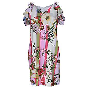 Marie Mero Stripes & Floral Cold Shoulder Dress