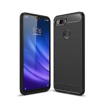 Xiaomi Mi 8 Lite TPU Case الألياف الضوئية الكربونية نحى حقيبة واقية الأسود