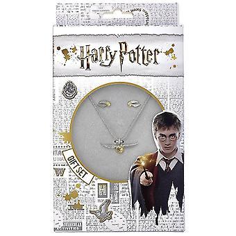 Harry Potter or Snitch collier et boucles d'oreilles