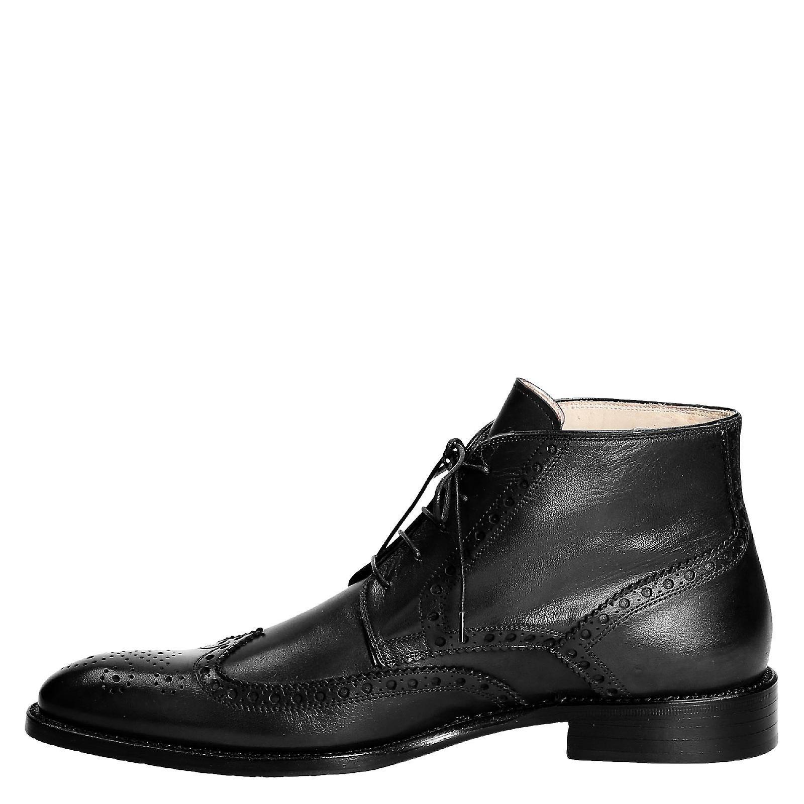 Chaussures Leonardo 107vitellonero Men-apos;s Bottes de cheville en cuir noir - Remise particulière