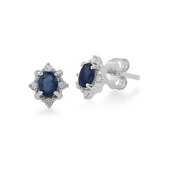 Classic Oval Sapphire & Diamond Cluster Stud Earrings in 9ct White Gold 162E0177019