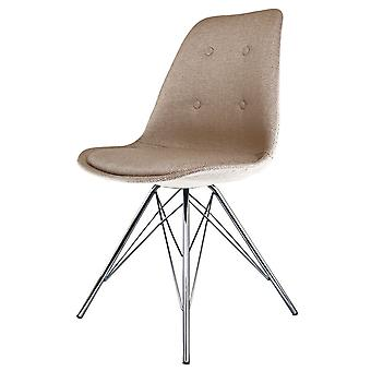 Fusion Living Eiffel Inspired Beige Fabric Dining Chair With Chrome Metal Legs