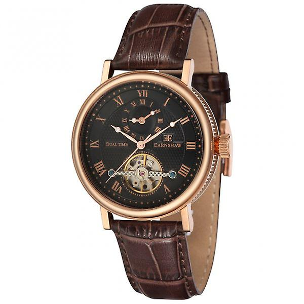 Thomas Earnshaw Es-8047-04 Beaufort Dual Time Rose Gold & Brown Leather Automatic Watch