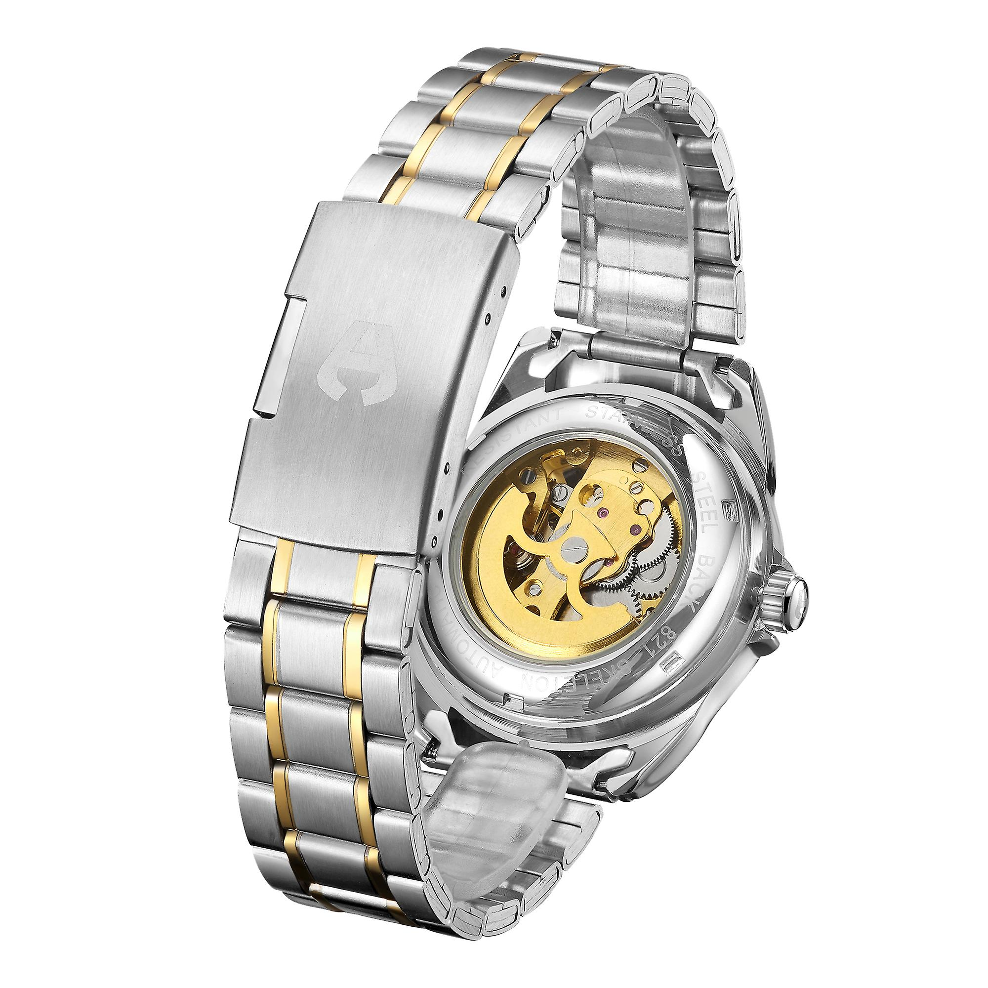 Hand Assembled Anthony James Limited Edition Skeleton Automatic Two Tone Gold & Steel Mens Watch – 5 Year Warranty