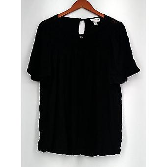 Ava Viv Sz. X Short Sleeve Floral Lace Detail U-Shaped Neck Top Black Womens