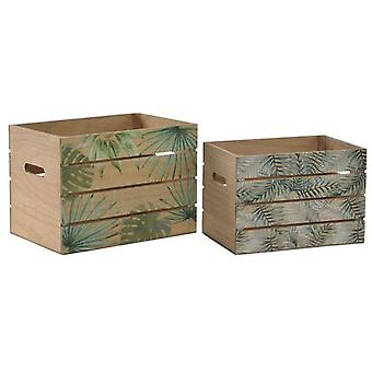 Wellindal Boxed Set 2 tropical wood 30x22x22 (Decoration , Boxes and baskets , Boxes)
