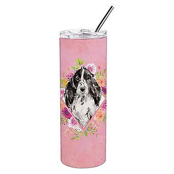 Black Parti Cocker Spaniel Pink Flowers Double Walled Stainless Steel 20 oz Skin