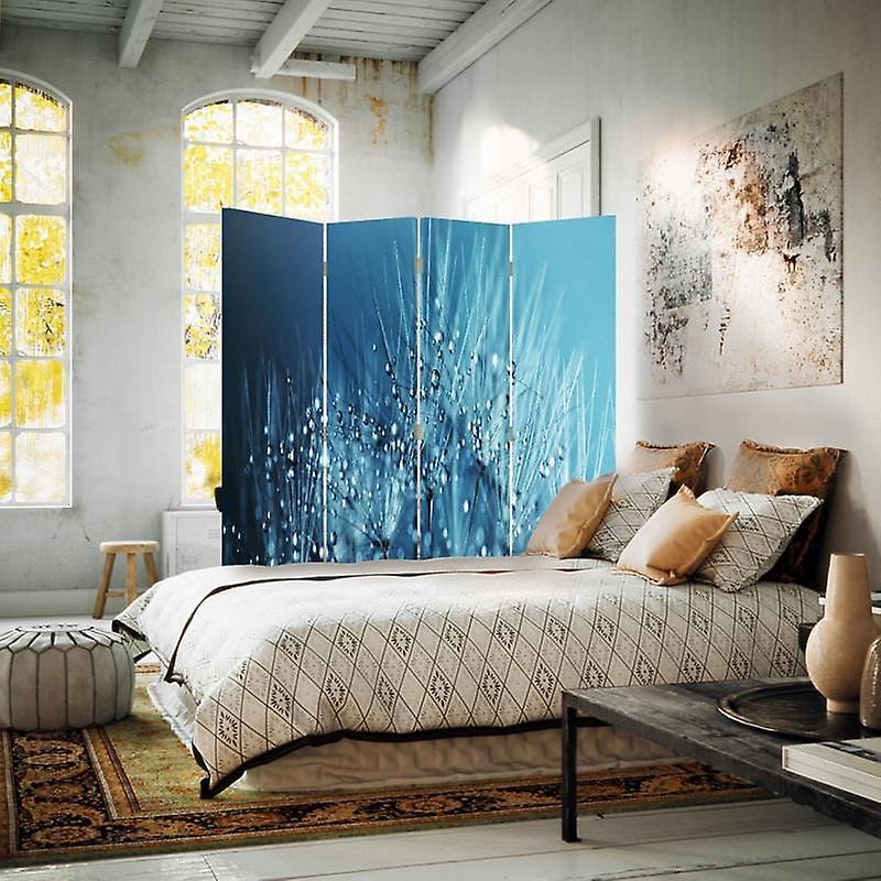 Diviseur de chambre, 4 panneaux, double-face, Rotatable 360, toile, dandelion et rosée 2