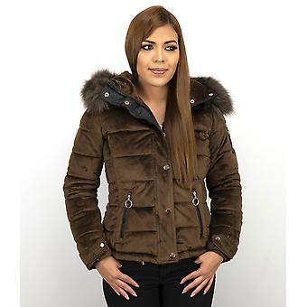 Winter Coat Suede - With Faux Fur Collar - Brown