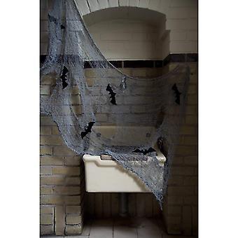 Tkanina dekoracyjna szary 150x75 cm z nietoperzami dekoracyjną tkaniną Halloween