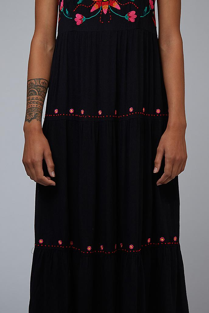 Louche Paz Embroidered Tiered Midi Dress Black