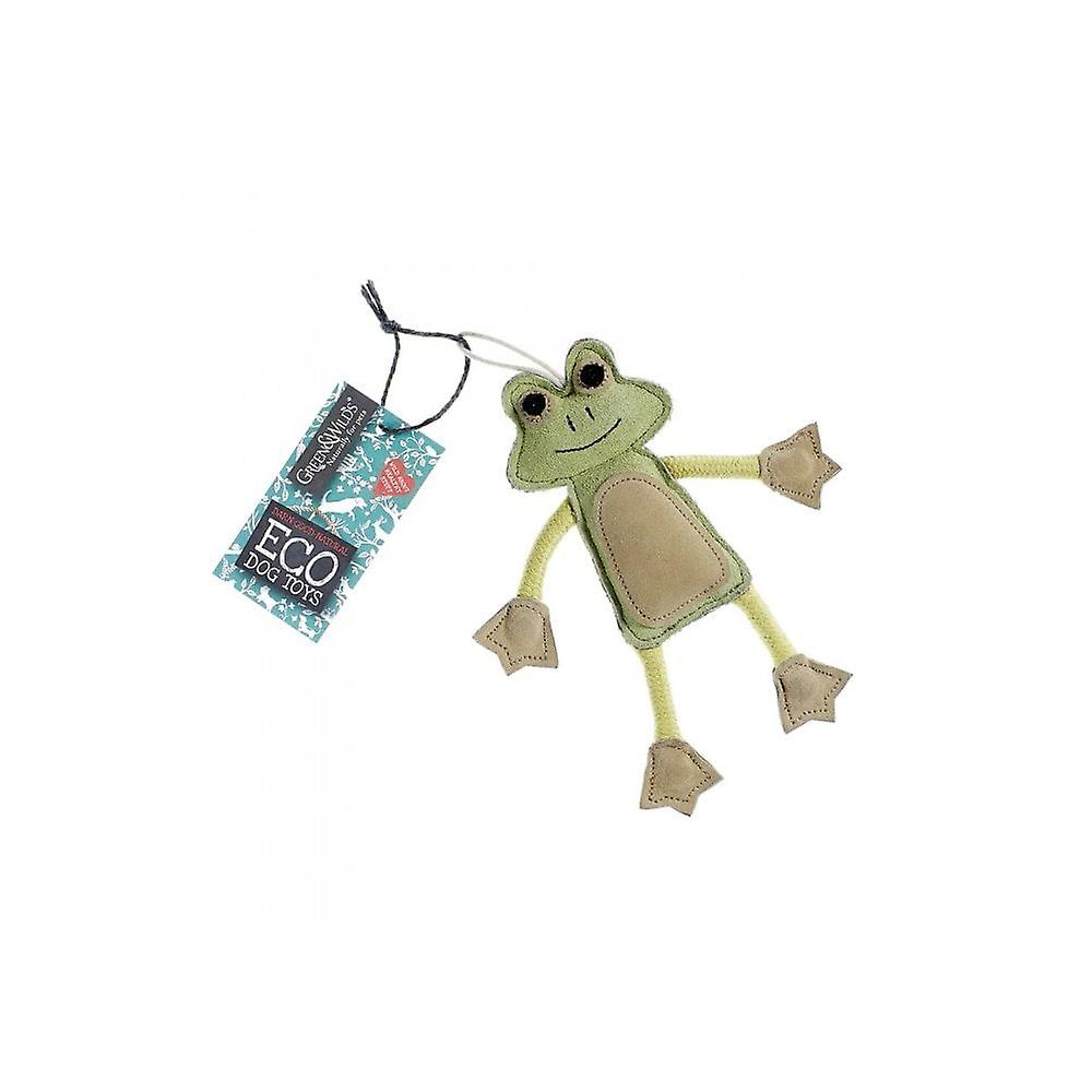 Green & Wild Francois Le Frog -  Eco Dog Toy Jute & Suede Green & Wild
