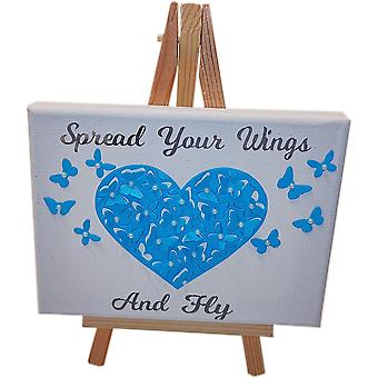 Large Heart Canvas - Blue & White by Wee Bee Gifts