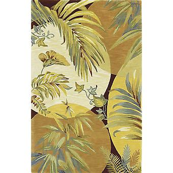 4'x6' Coral Red Ivory Hand Tufted Tropical Leaves Indoor Area Rug