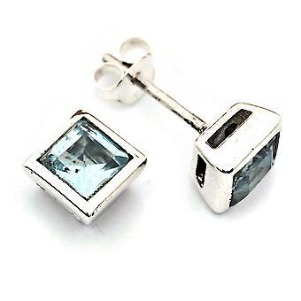 Stud oorbellen zilver 925 sterling zilver blauw topaas blauwe steen (Nr: MOS 077-62)