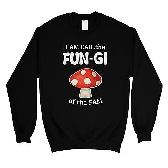 Fungi Dad Mushroom Mens/Unisex Black Fleece Sweatshirt Witty Dad