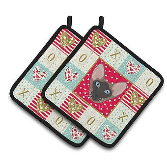 Carolines Treasures CK5141PTHD Oriental Bicolor Cat Love Pair of Pot Holders