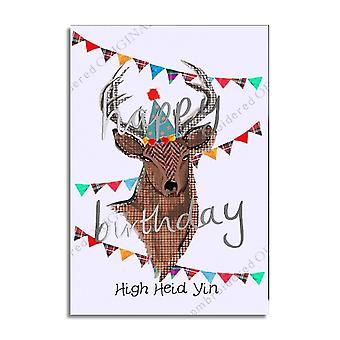 Geborduurde originelen hoge heid Yin Schotse verjaardagskaart