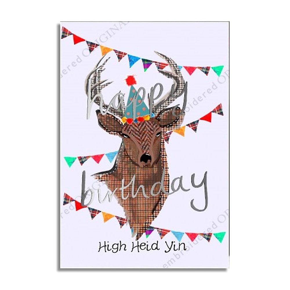 Embroidered Originals High Heid Yin Scottish Birthday Card