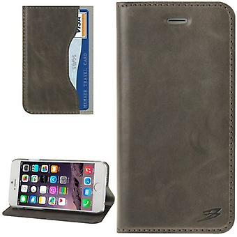 iPhone 6S, 6 lompakko tapauksessa muoti öljy vaha cowhide aitonahka kansi, harmaa