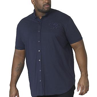 Duke D555 Homme Big Tall Beaver Couture Short Sleeve Collared Cotton Shirt - Marine