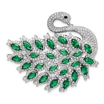 37.5mm 925 Sterling Silver Rhodium plate CZ Cubic Zirconia Simulated Diamond and Green Spinel Enamel Swan Slide And Pin