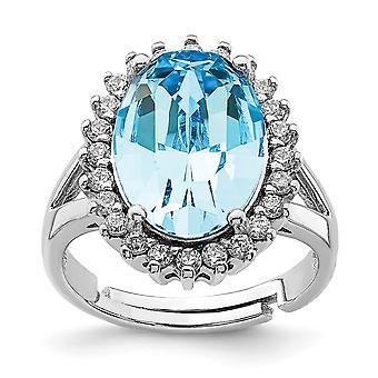 925 Sterling Silber Rhodium vergoldet klar und blau Kristall oval verstellbarring Ring Schmuck Geschenke für Frauen