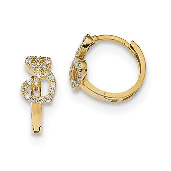 6mm 14k Madi K CZ Cubic Zirconia Simulert Diamond Double Love Heart Hengslet Hoop Øredobber Smykker Gaver til kvinner