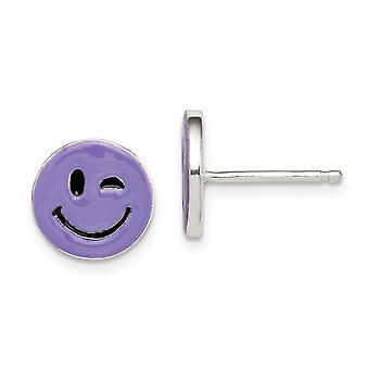 925 Sterling Silver Purple Enamel Winking Smiley Face para meninos ou meninas Postar Brincos