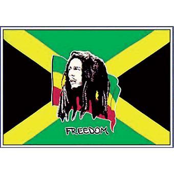 5 ft x 3 ft flagga - Bob Marley och Jamaica