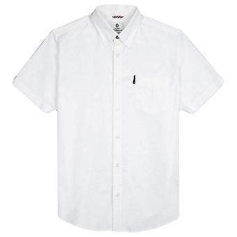 בן שרמן חתימת אוקספורד חולצת שרוול קצר-לבן