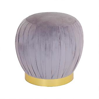 Charles Bentley Runde Pleated Samt Fußstütze/Fußhocker/Pouffe/Dressing Tisch Hocker mit Gold Basis grau