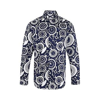 JSS Clock Print Blue Regular Fit 100% Cotton Shirt
