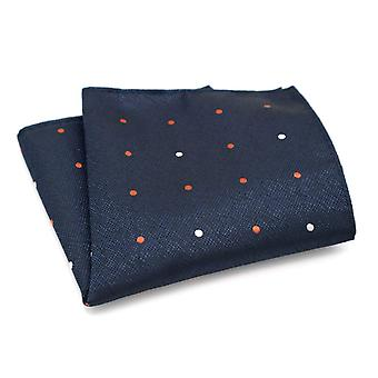 Wax finish navy blue & orange polka dot pocket square