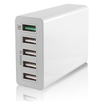 USB  Wall Charger KSIX 5 USB 10a White