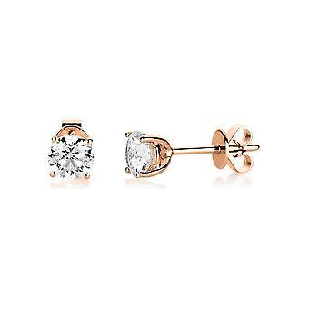 Diamant stud studs studs - 18K 750/- Rød Gull - 1,0 ct. - 2B003R8-1