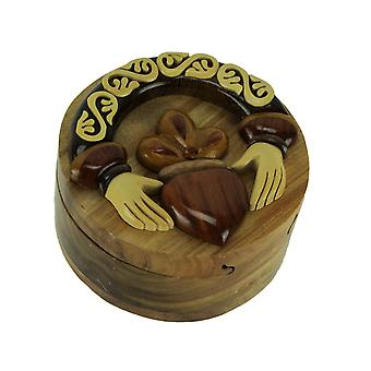 Hand Carved Wooden Claddagh Ring Trinket Puzzle Box