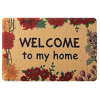 Hollow door mat dust collector water spray door mat, front door indoor and outdoor non-slip mat, printed with flowers, washable